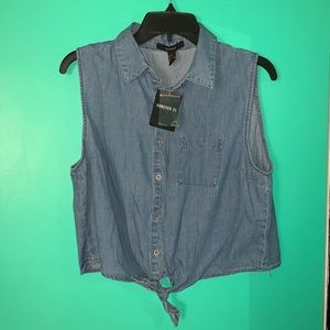 Women's Sleeveless Denim Shirt - Button Down